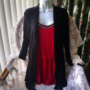 AGB Red Peplum Top with Black Cardigan Med
